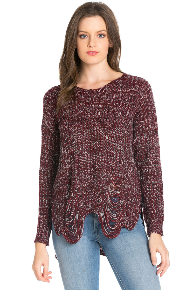 Burgundy Long Sleeve Distressed Knit Sweater - Sweaters - My Yuccie - 2