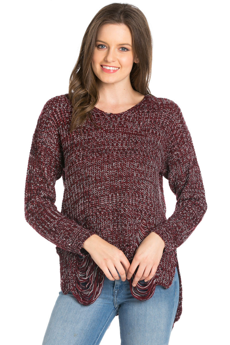 Burgundy Long Sleeve Distressed Knit Sweater - Sweaters - My Yuccie - 3