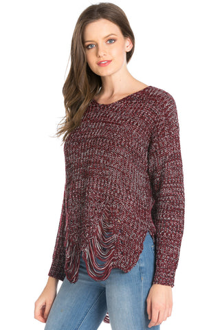 Burgundy Long Sleeve Distressed Knit Sweater - Sweaters - My Yuccie - 1