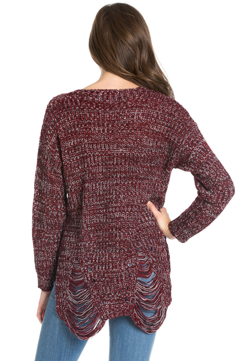 Burgundy Long Sleeve Distressed Knit Sweater - Sweaters - My Yuccie - 4