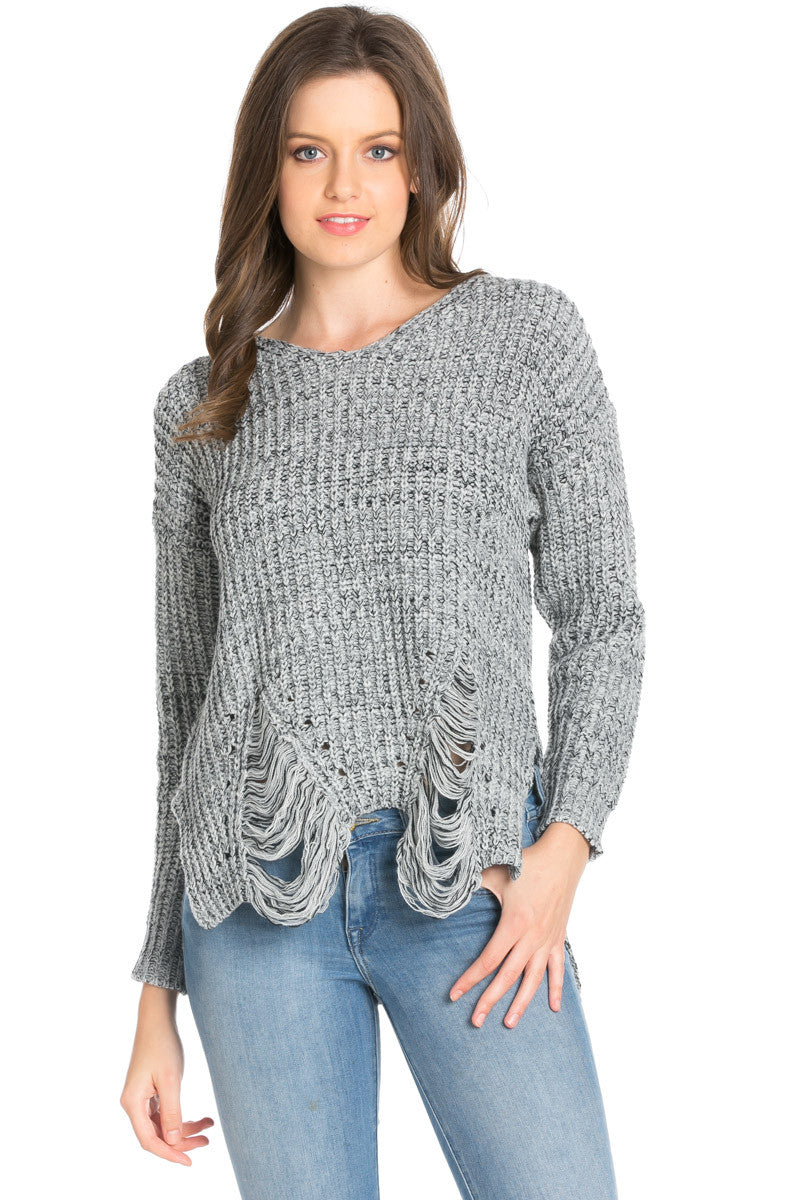 Heather Grey Long Sleeve Distressed Knit Sweater - Sweaters - My Yuccie - 1