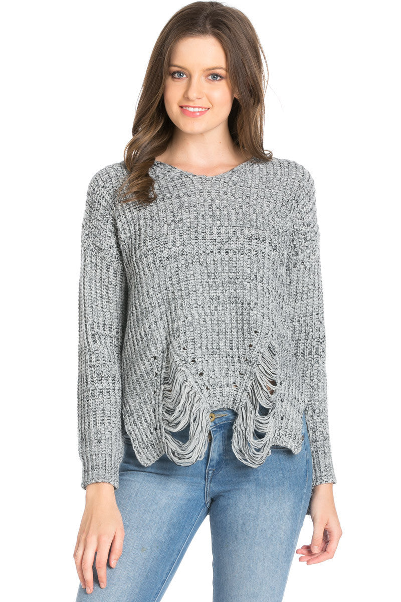 Heather Grey Long Sleeve Distressed Knit Sweater - Sweaters - My Yuccie - 3