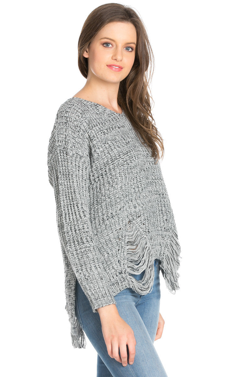 Heather Grey Long Sleeve Distressed Knit Sweater - Sweaters - My Yuccie - 4