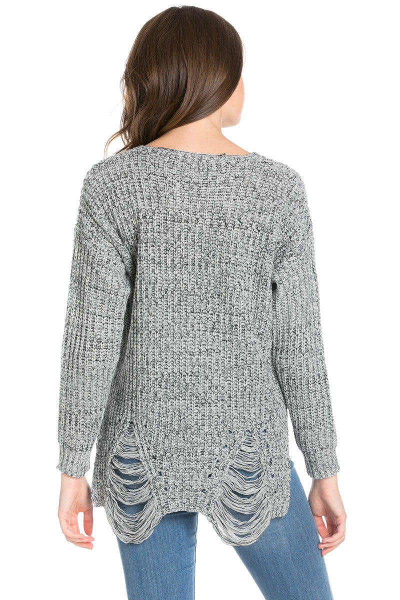 Heather Grey Long Sleeve Distressed Knit Sweater - Sweaters - My Yuccie - 5