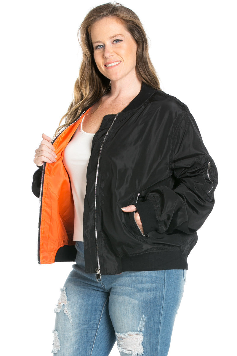 Plus Size Nylon Bomber Jacket in Rust - Jacket - My Yuccie - 6