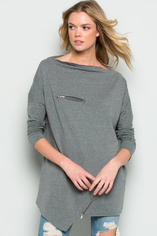 Charcoal Grey French Terry Short Sleeve Tunic Top