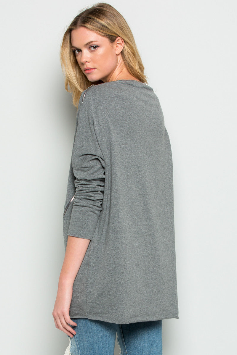 Grey Asymmetrical Zipper Top