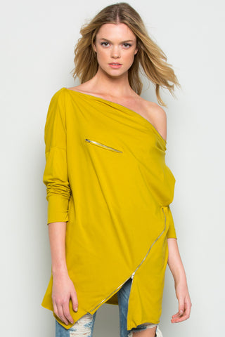 Mustard Asymmetrical Zipper Top