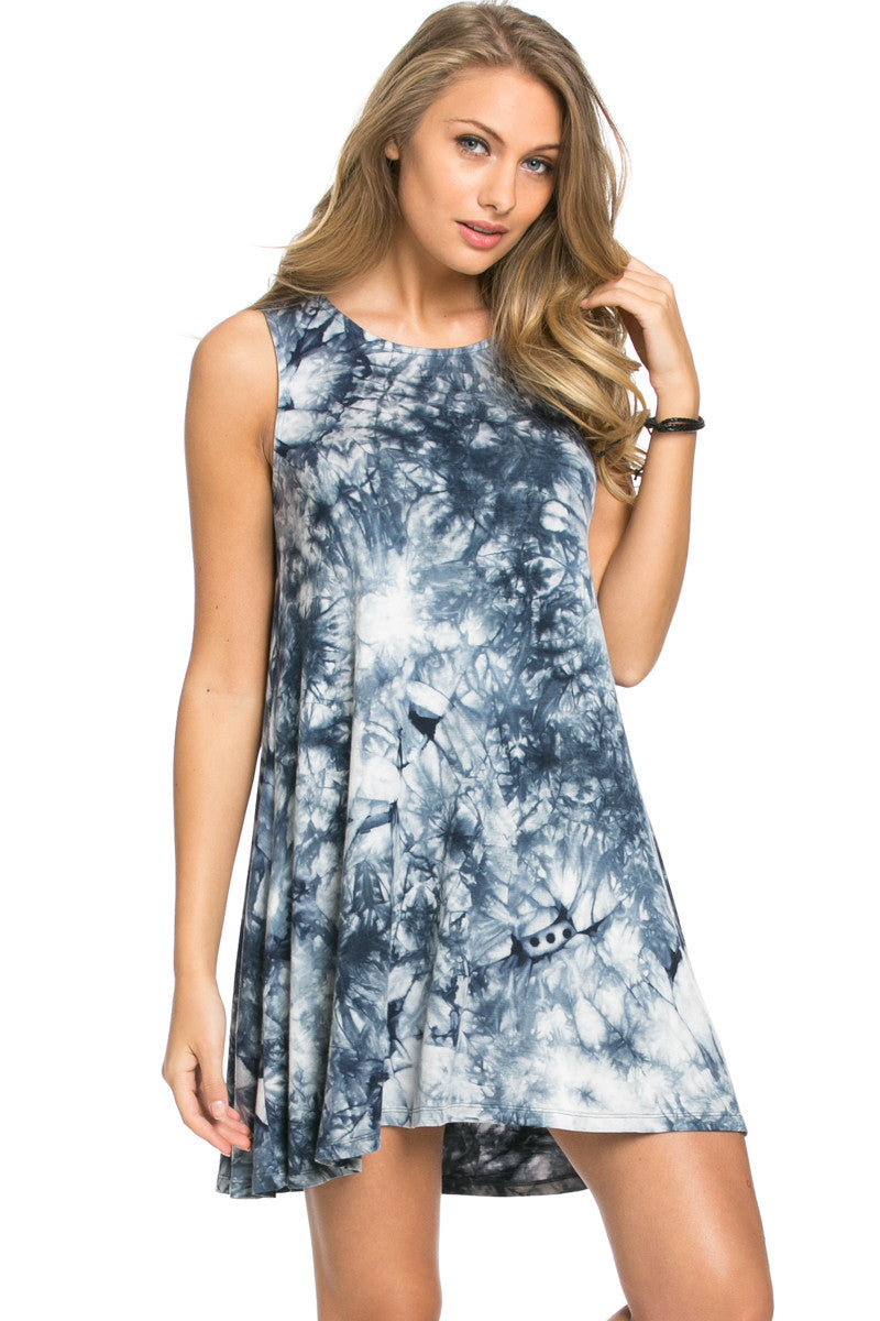 WishList Tie Dye Swing Dress Blue and Ivory - Dresses - My Yuccie - 2