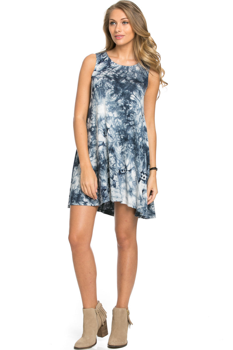 WishList Tie Dye Swing Dress Blue and Ivory - Dresses - My Yuccie - 3