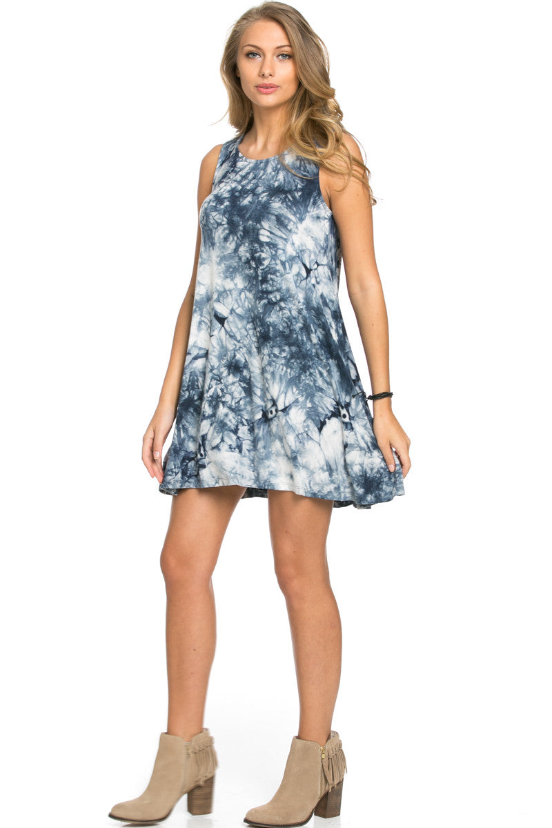 WishList Tie Dye Swing Dress Blue and Ivory - Dresses - My Yuccie - 4