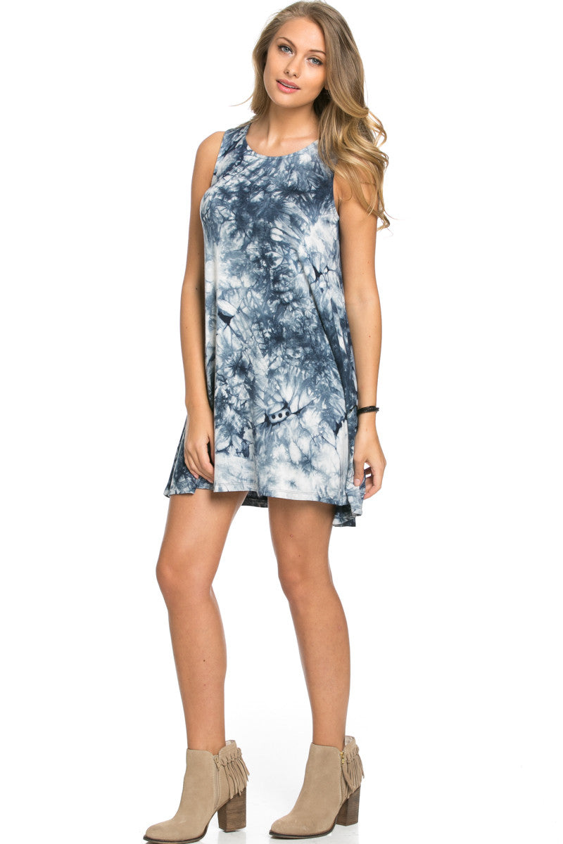 WishList Tie Dye Swing Dress Blue and Ivory - Dresses - My Yuccie - 5