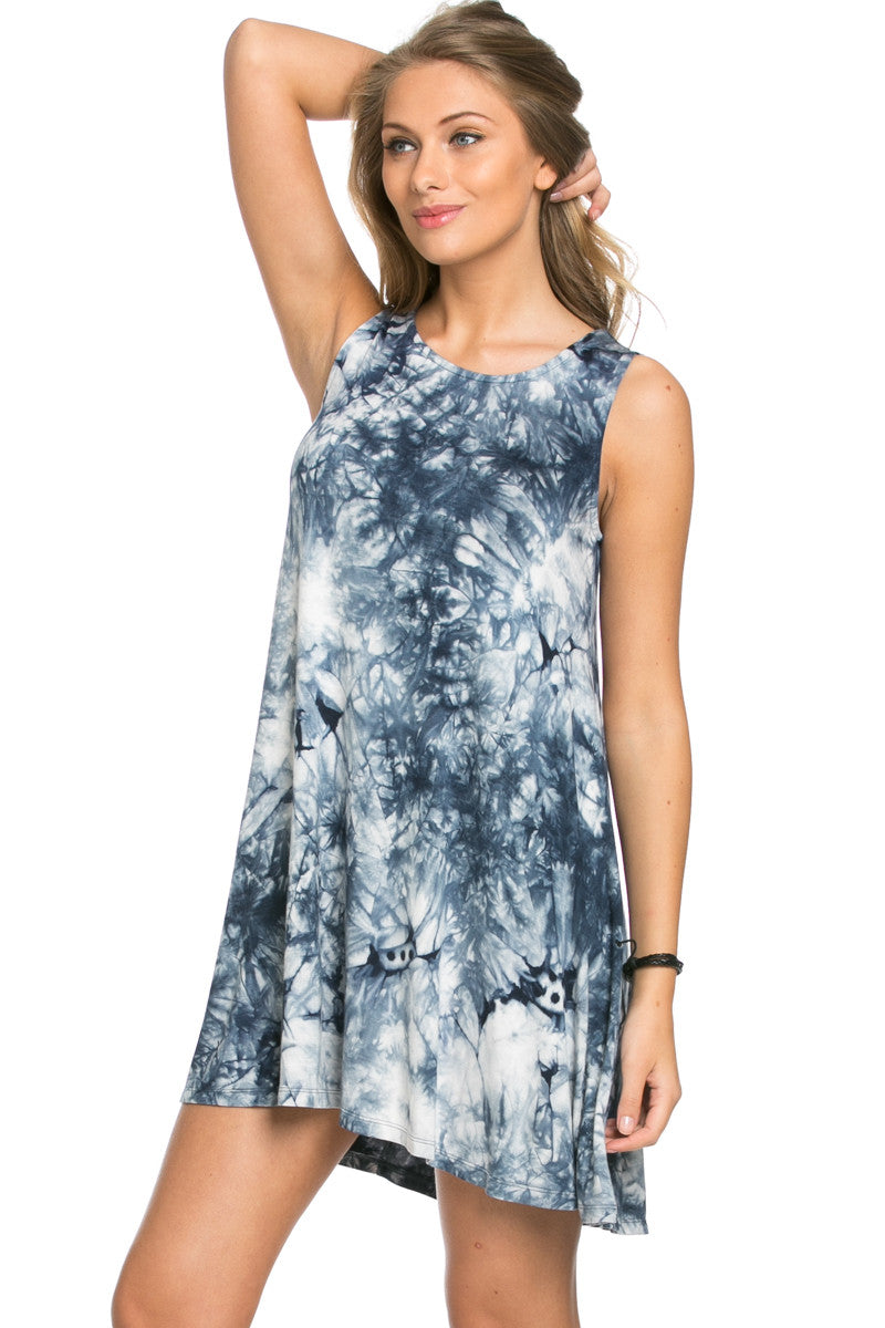 WishList Tie Dye Swing Dress Blue and Ivory - Dresses - My Yuccie - 1