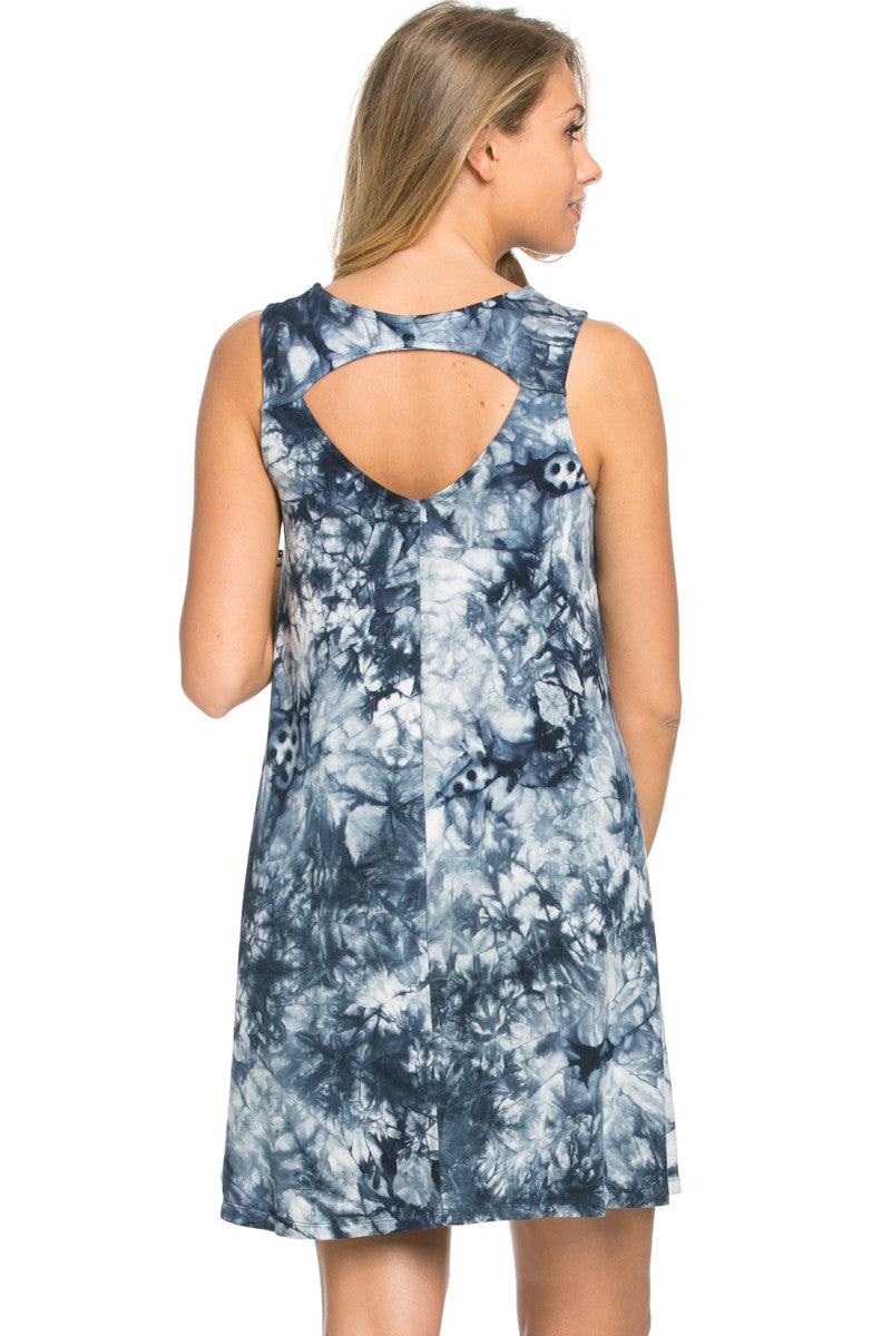 WishList Tie Dye Swing Dress Blue and Ivory - Dresses - My Yuccie - 6