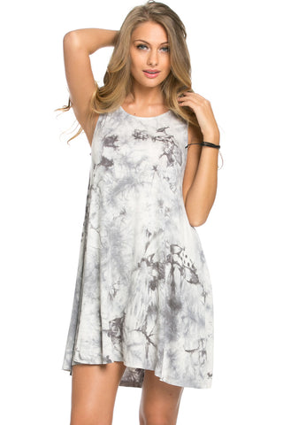 WishList Tie Dye Swing Dress Grey and Ivory - Dresses - My Yuccie - 1
