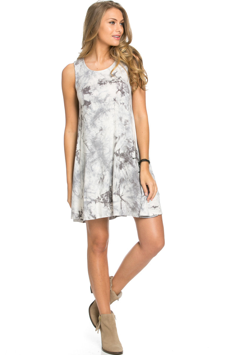 WishList Tie Dye Swing Dress Grey and Ivory - Dresses - My Yuccie - 2