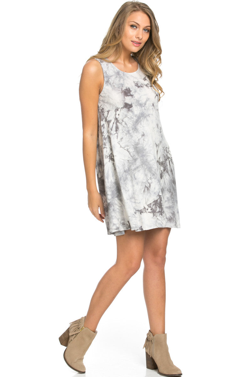 WishList Tie Dye Swing Dress Grey and Ivory - Dresses - My Yuccie - 3