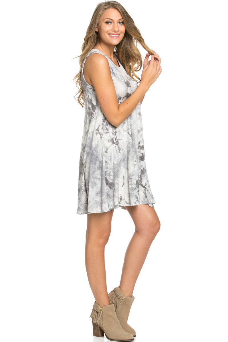 WishList Tie Dye Swing Dress Grey and Ivory - Dresses - My Yuccie - 4