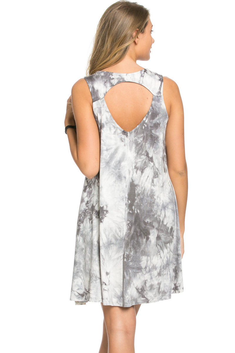 WishList Tie Dye Swing Dress Grey and Ivory - Dresses - My Yuccie - 5