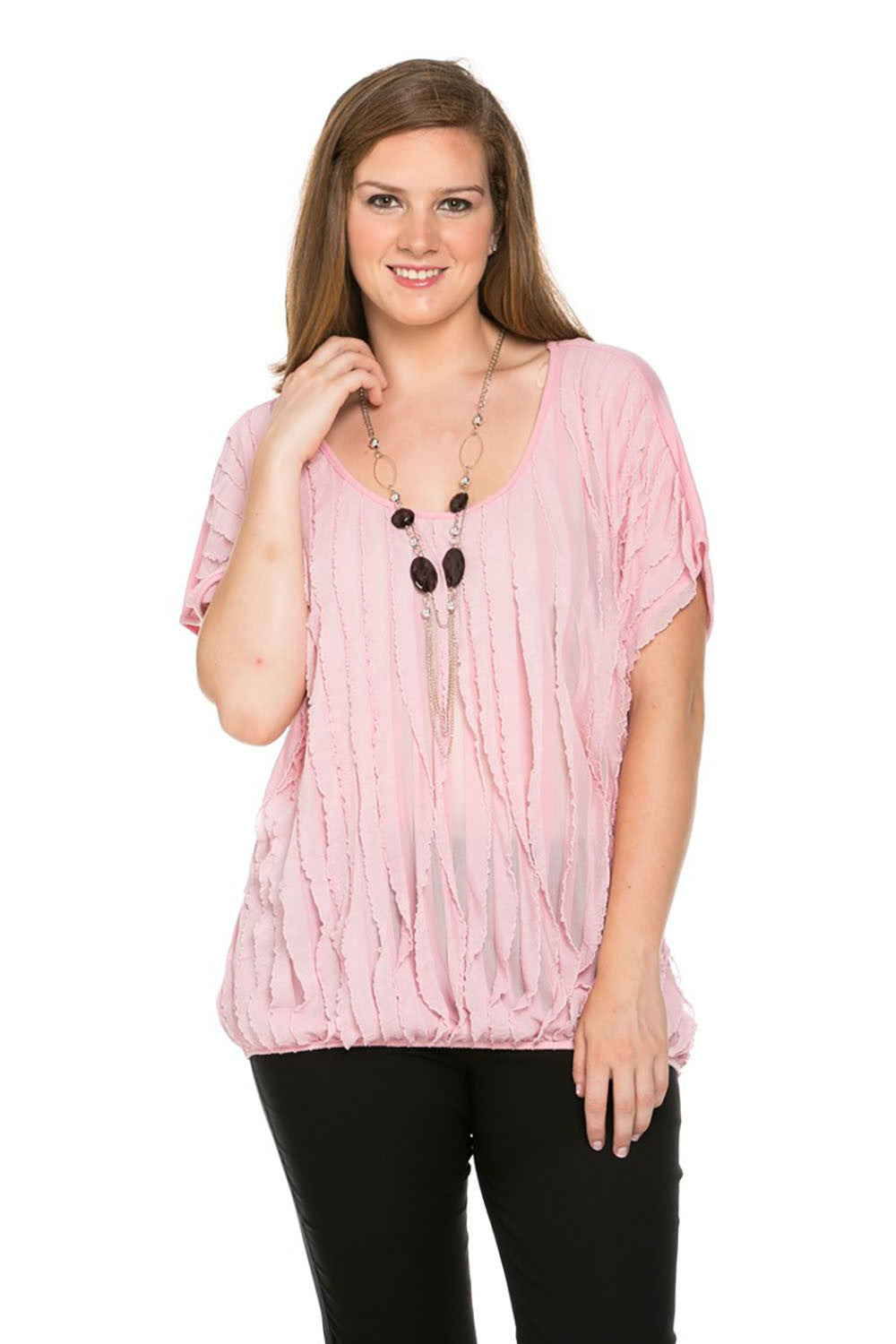 Ruffled Blush Short Sleeve Top Plus Size - Tops - My Yuccie - 1