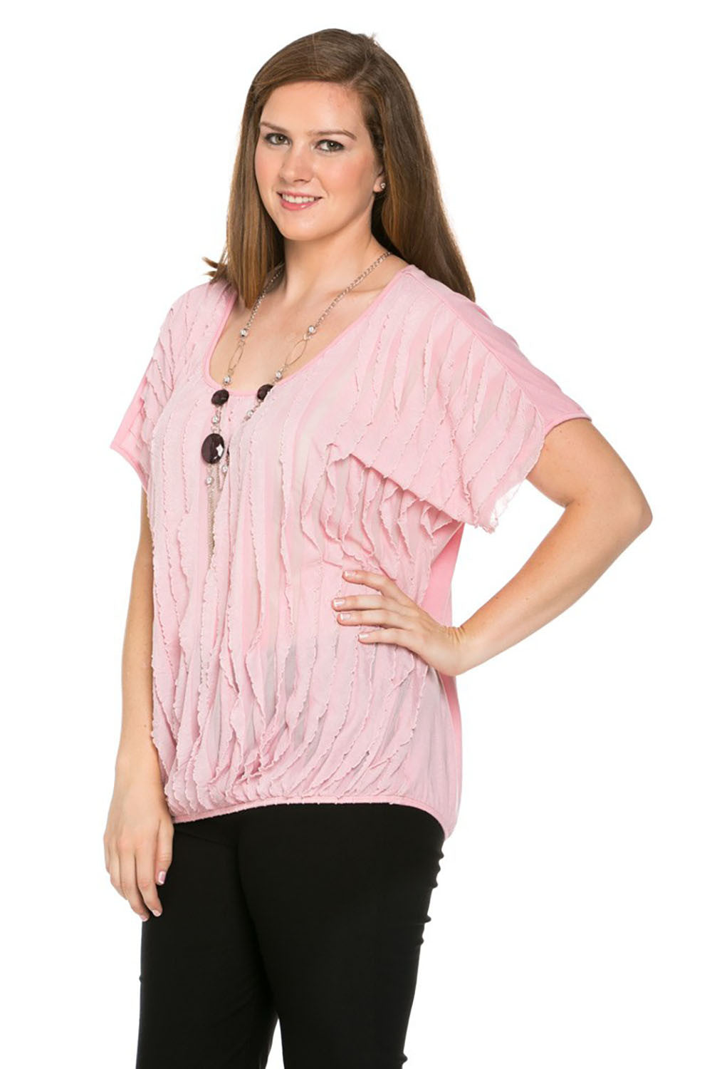 Ruffled Blush Short Sleeve Top Plus Size - Tops - My Yuccie - 2