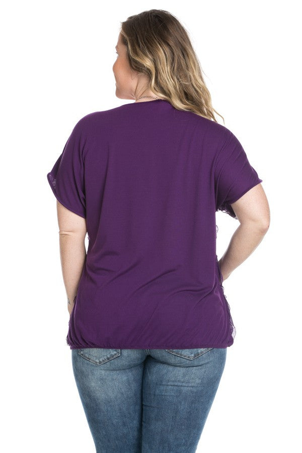 Ruffled Plum Short Sleeve Top Plus Size - Tops - My Yuccie - 4