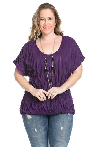 Ruffled Plum Short Sleeve Top Plus Size - Tops - My Yuccie - 1