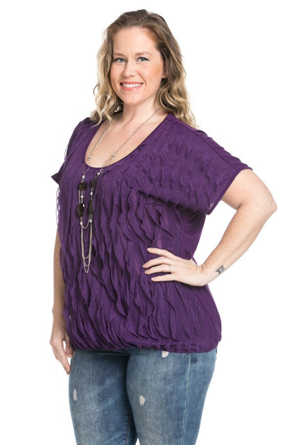 Ruffled Plum Short Sleeve Top Plus Size - Tops - My Yuccie - 3
