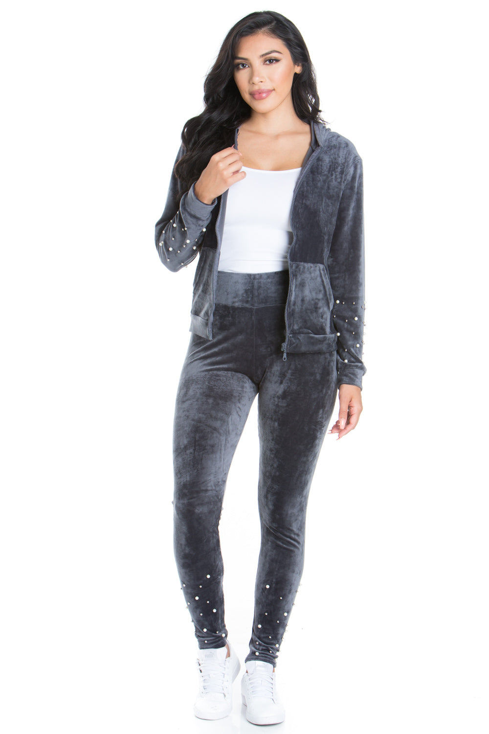 Charcoal Velvet Hoodie Sweatpants Set