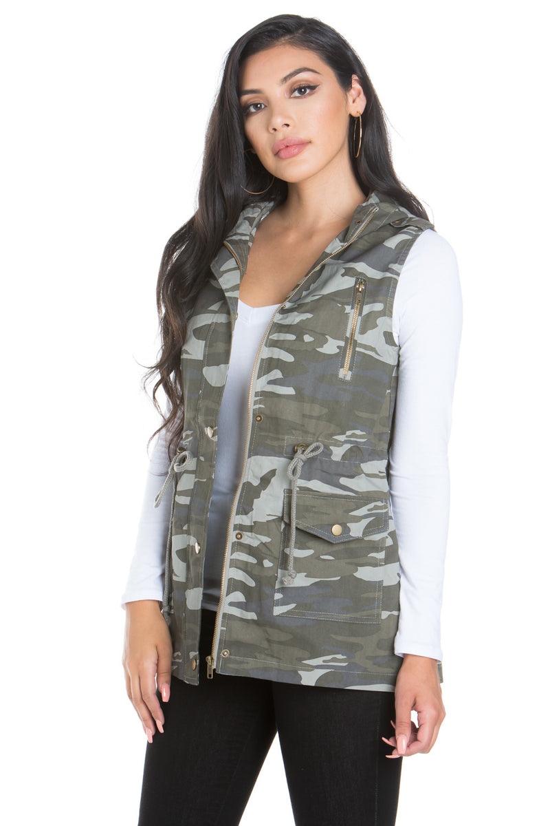 Camouflage Anorak Military utility Jacket Vest with Drawstring
