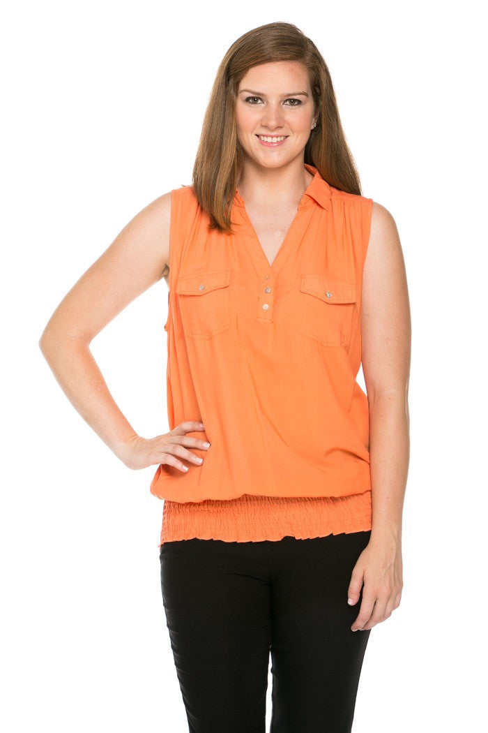 Slim Fit Sleeveless Dark Peach Blouse Plus Size - Tops - My Yuccie - 5