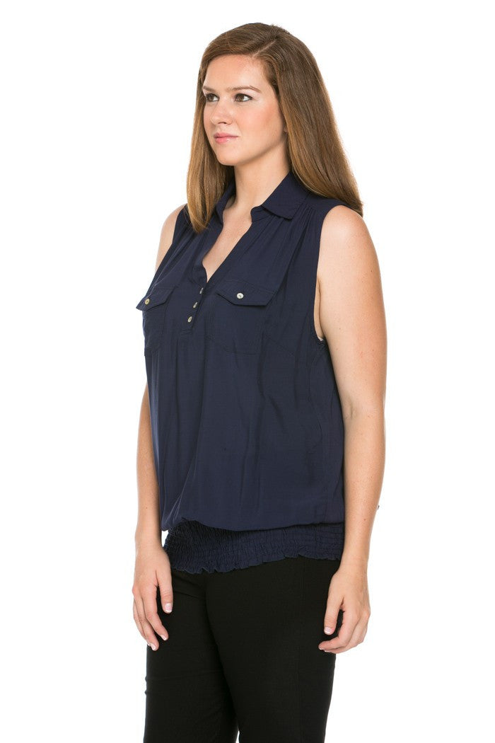 Slim Fit Sleeveless Navy Blouse Plus Size - Tops - My Yuccie - 2