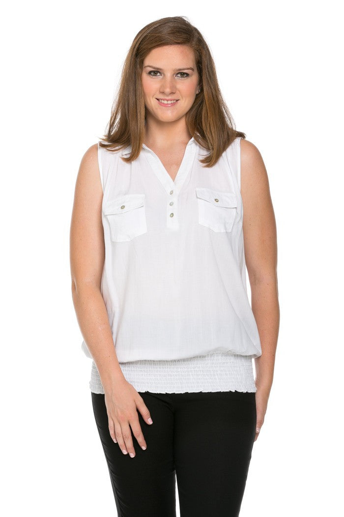 Slim Fit Sleeveless White Blouse Plus Size - Tops - My Yuccie - 1