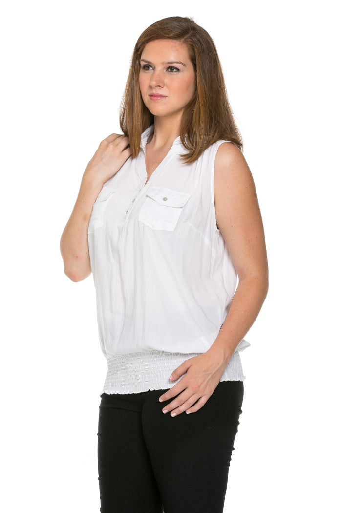 Slim Fit Sleeveless White Blouse Plus Size - Tops - My Yuccie - 2