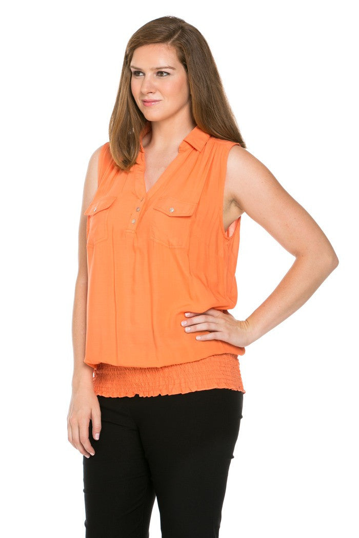 Slim Fit Sleeveless Dark Peach Blouse Plus Size - Tops - My Yuccie - 6
