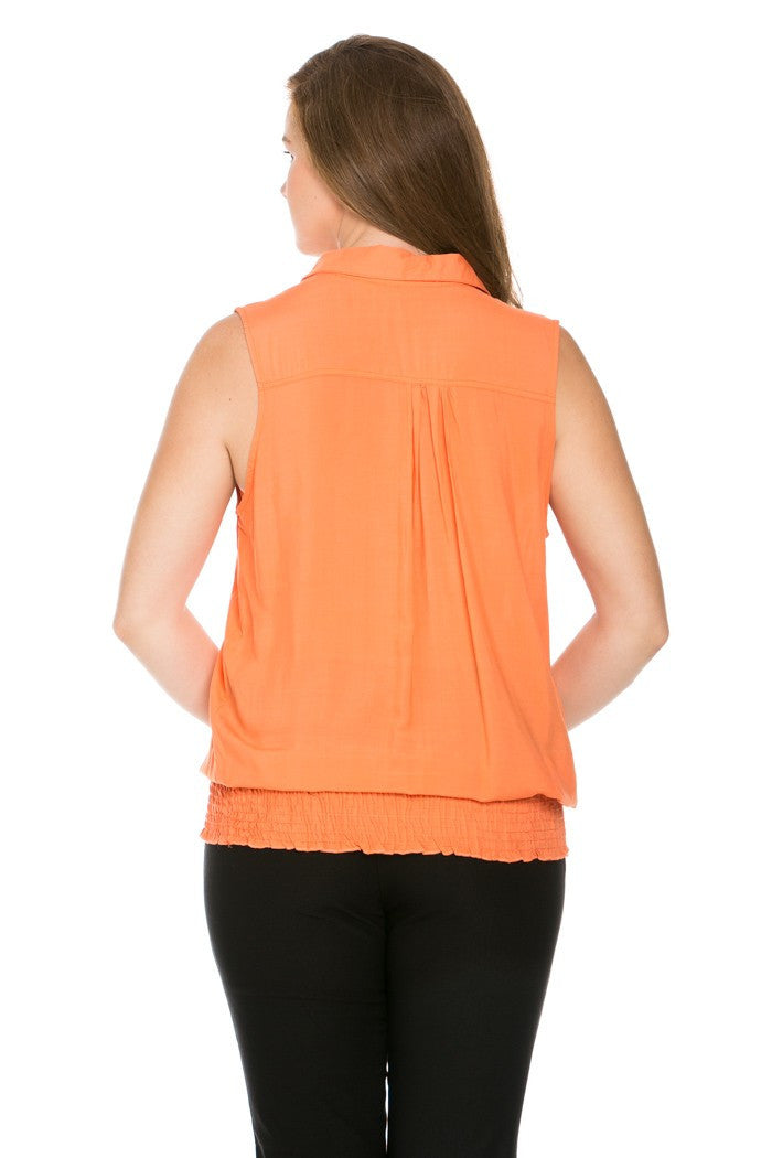 Slim Fit Sleeveless Dark Peach Blouse Plus Size - Tops - My Yuccie - 7