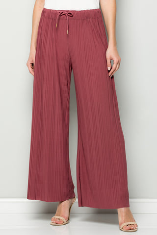 SOLID MAUVE PLEATED WIDE LEG PANTS