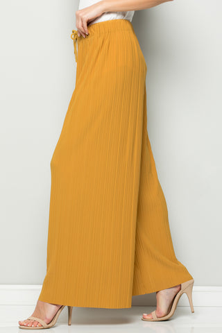 SOLID MUSTARD PLEATED WIDE LEG PANTS