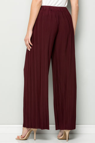 SOLID BURGUNDY PLEATED WIDE LEG PANTS
