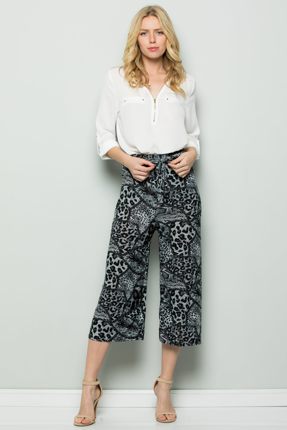 GREY WILD PRINT HIGH WAIST CULOTTES