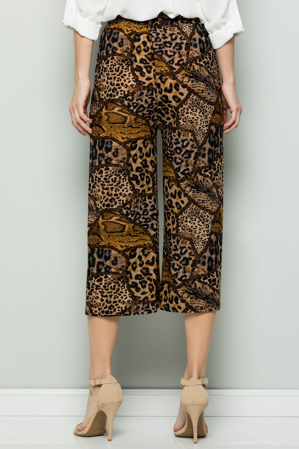 TAN GREY WILD PRINT HIGH WAIST CULOTTES