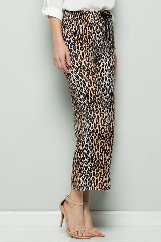 TAN LEOPARD PRINT WIDE PANTS