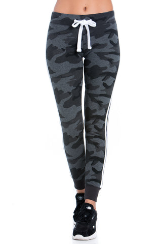 Black Camouflage Print Fleece Joggers