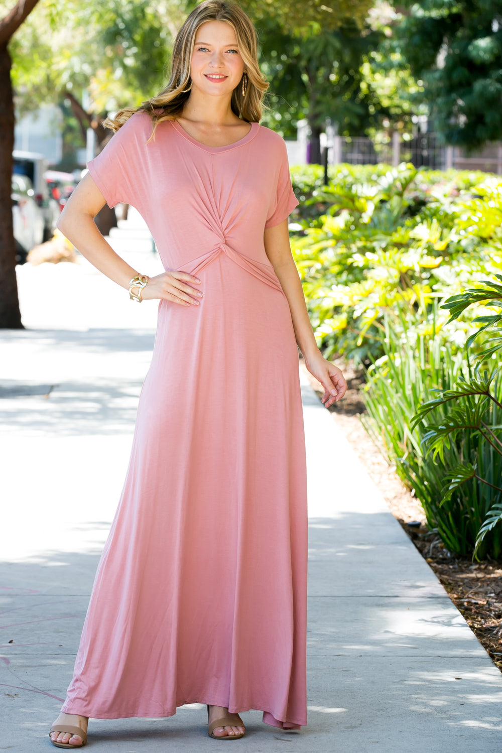 PINK SOLID KNOTTED MAXI DRESS