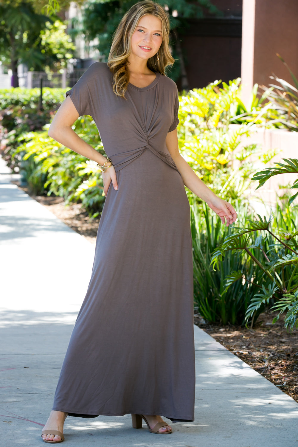 728febe2e2 MOCHA SOLID KNOTTED MAXI DRESS | My Yuccie