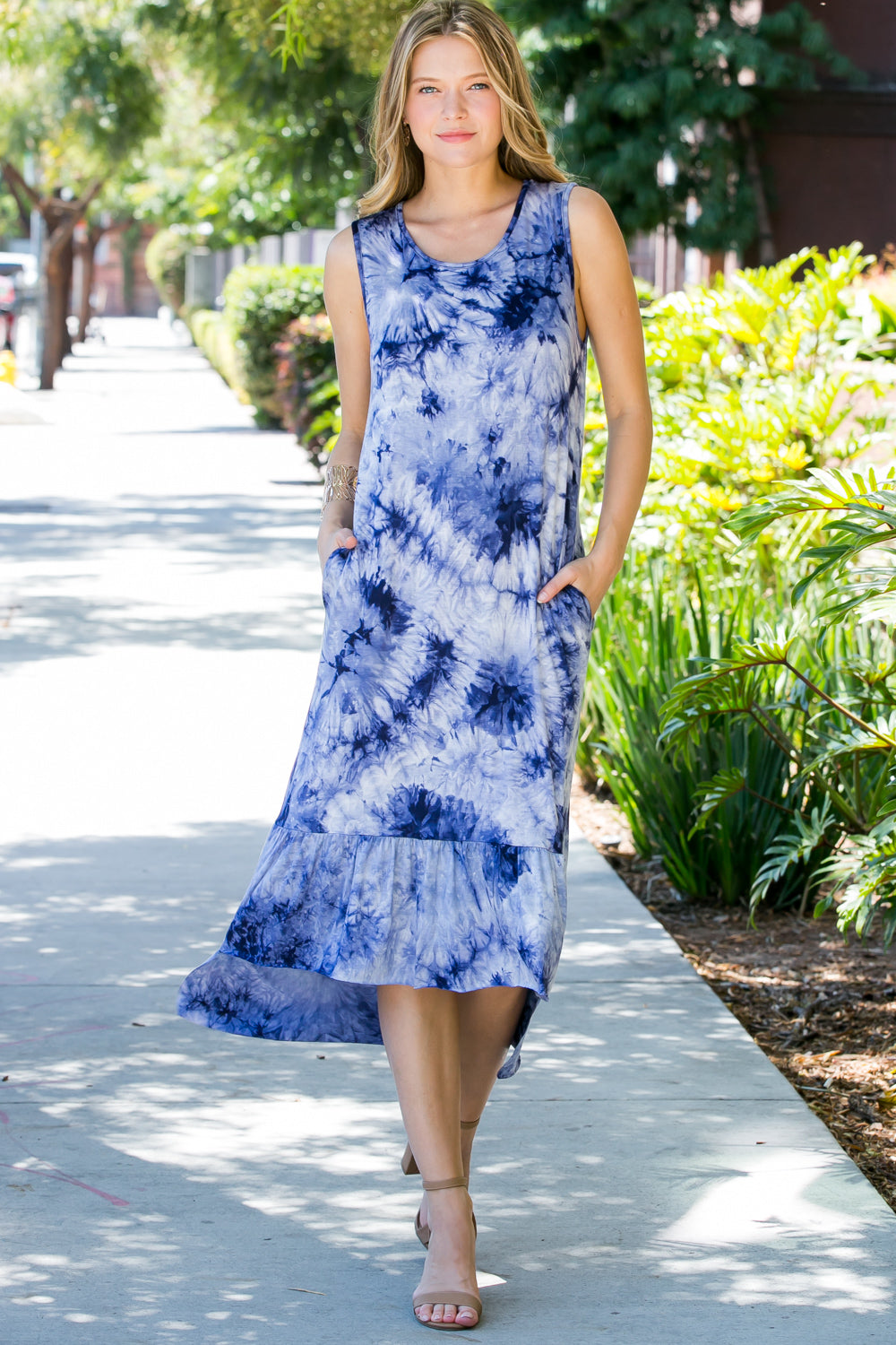 Navy Sleeveless Tie Dye Dress
