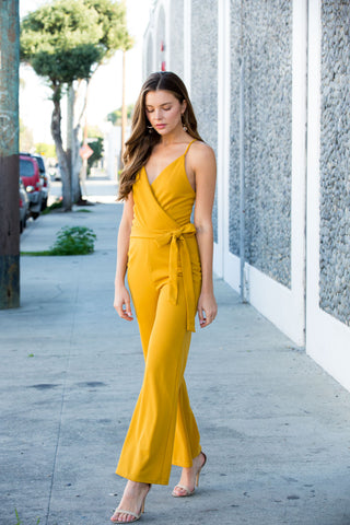 Mustard Sleeveless Solid Jumpsuit