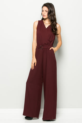 Surplice Wide Leg Burgundy Jumpsuit - Jumpsuit - My Yuccie - 1