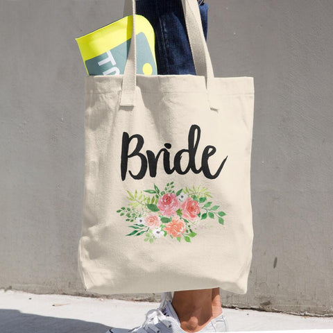 "Bride Tote - Cotton Tote Bag 14 3/8"" X 14"" -  100% Bull Denim Woven"