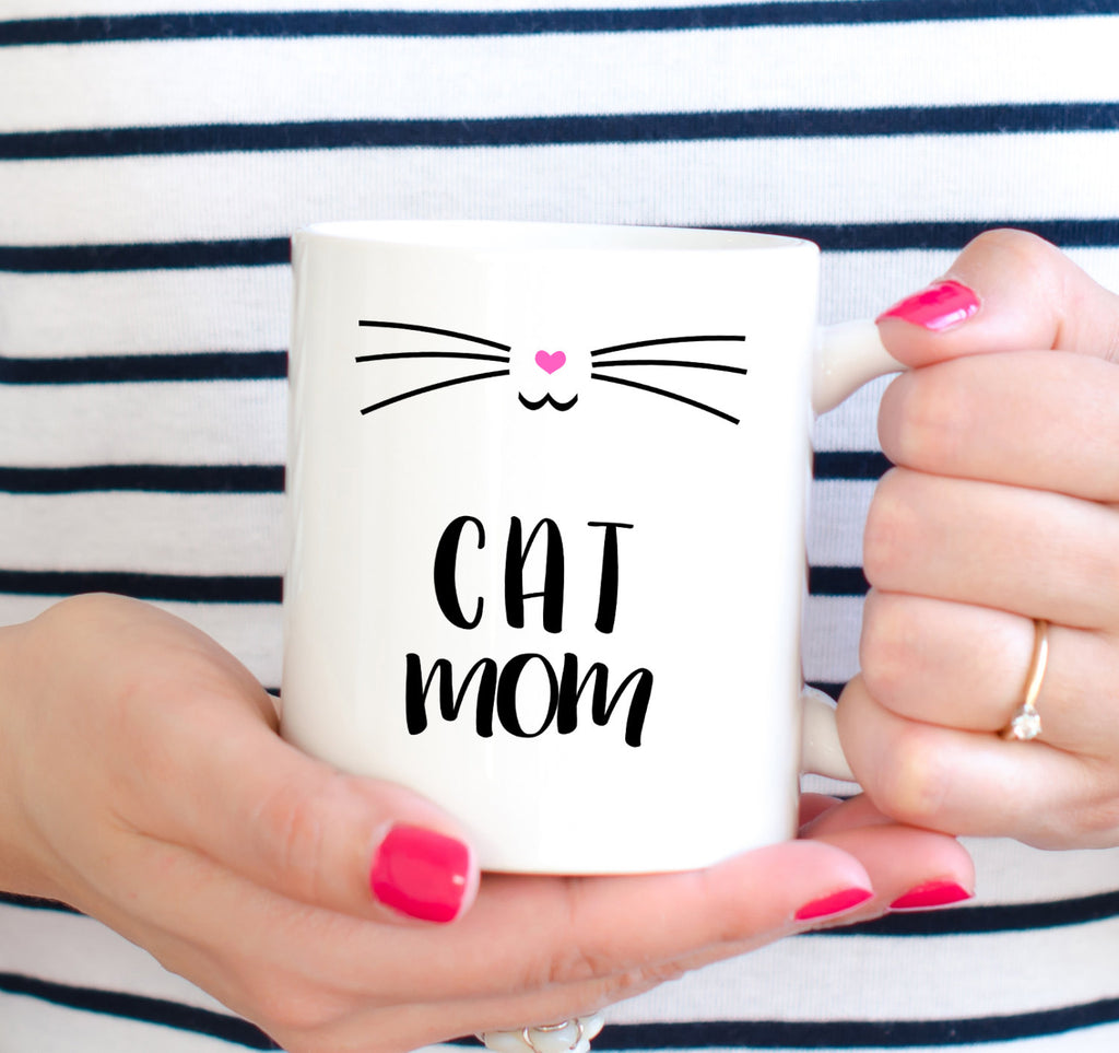 Cat Mom Mug White Coffee Mug Cat Lovers Mug Mugs For Cat People Kitty Mug Meow Mug